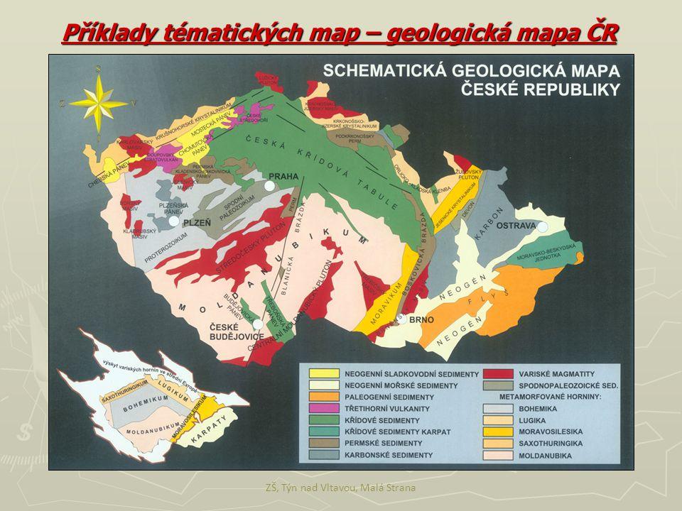 Příklady tématických map – geologická mapa ČR