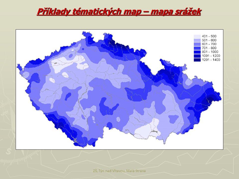Příklady tématických map – mapa srážek