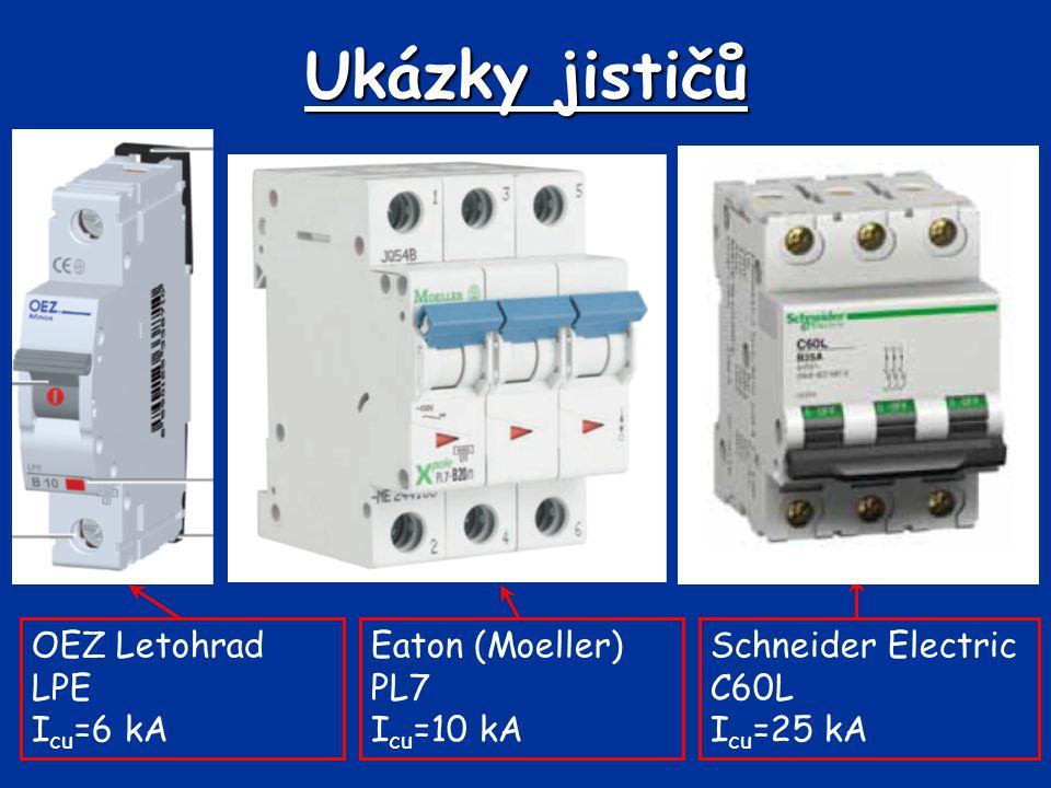 Ukázky jističů OEZ Letohrad LPE Icu=6 kA Eaton (Moeller) PL7 Icu=10 kA