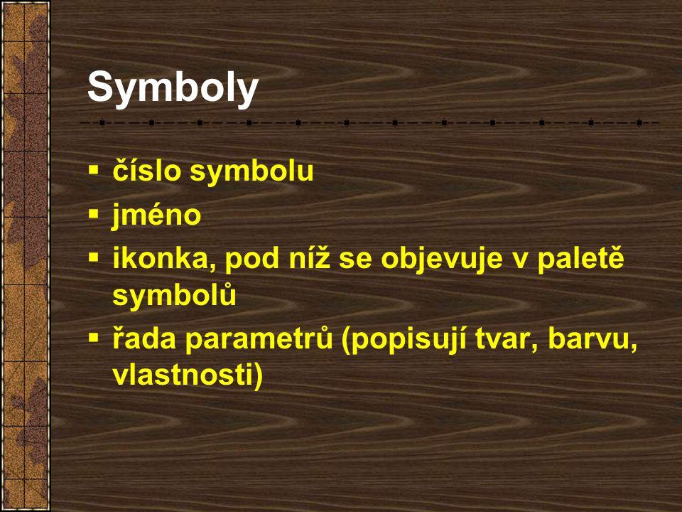 Symboly číslo symbolu jméno