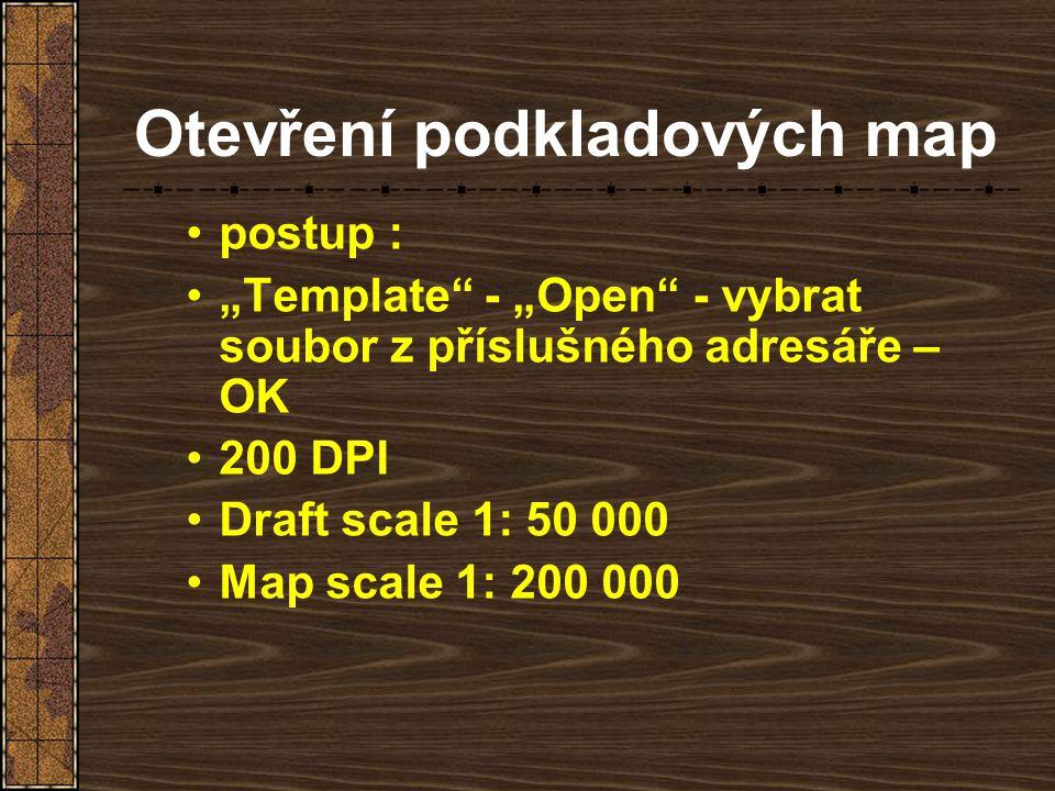 Otevření podkladových map