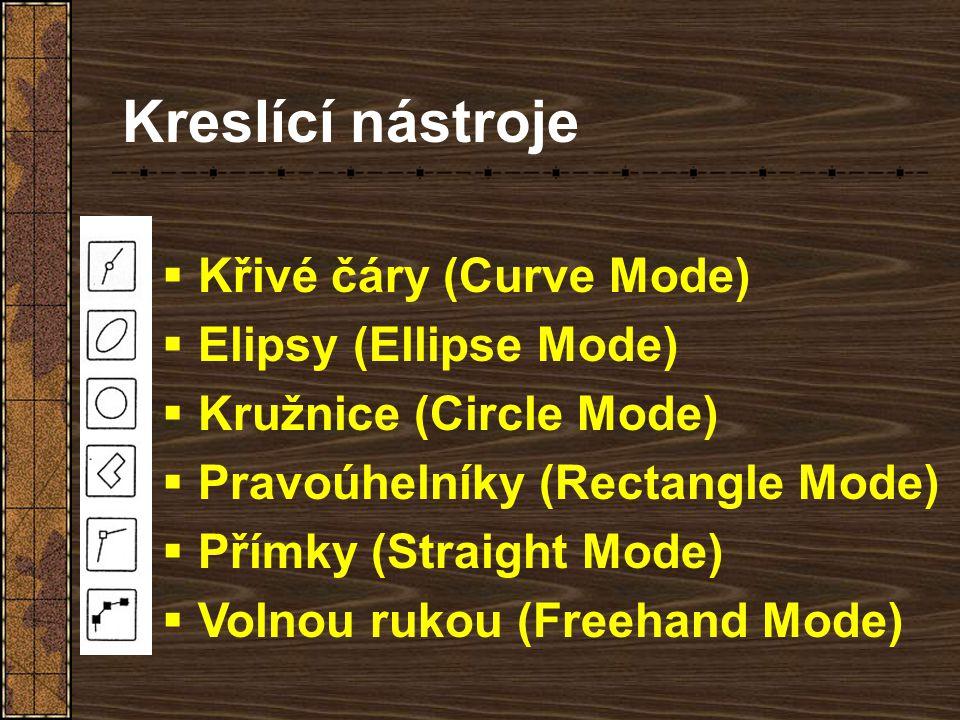 Kreslící nástroje Křivé čáry (Curve Mode) Elipsy (Ellipse Mode)