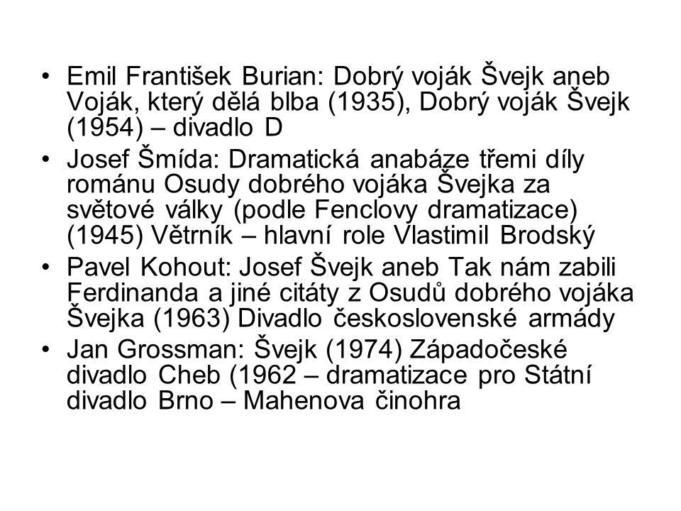 Emil František Burian: Dobrý voják Švejk aneb Voják, který dělá blba (1935), Dobrý voják Švejk (1954) – divadlo D