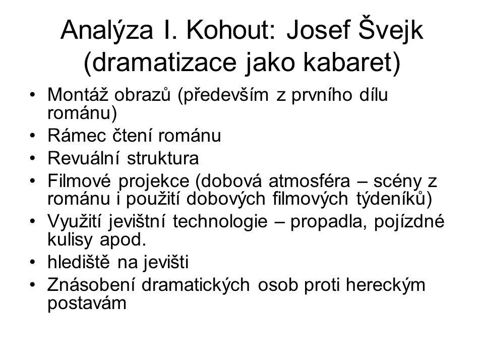 Analýza I. Kohout: Josef Švejk (dramatizace jako kabaret)