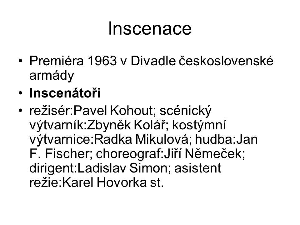 Inscenace Premiéra 1963 v Divadle československé armády Inscenátoři