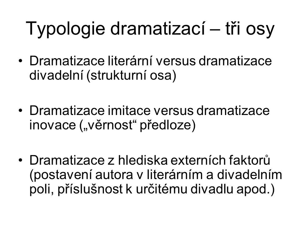 Typologie dramatizací – tři osy