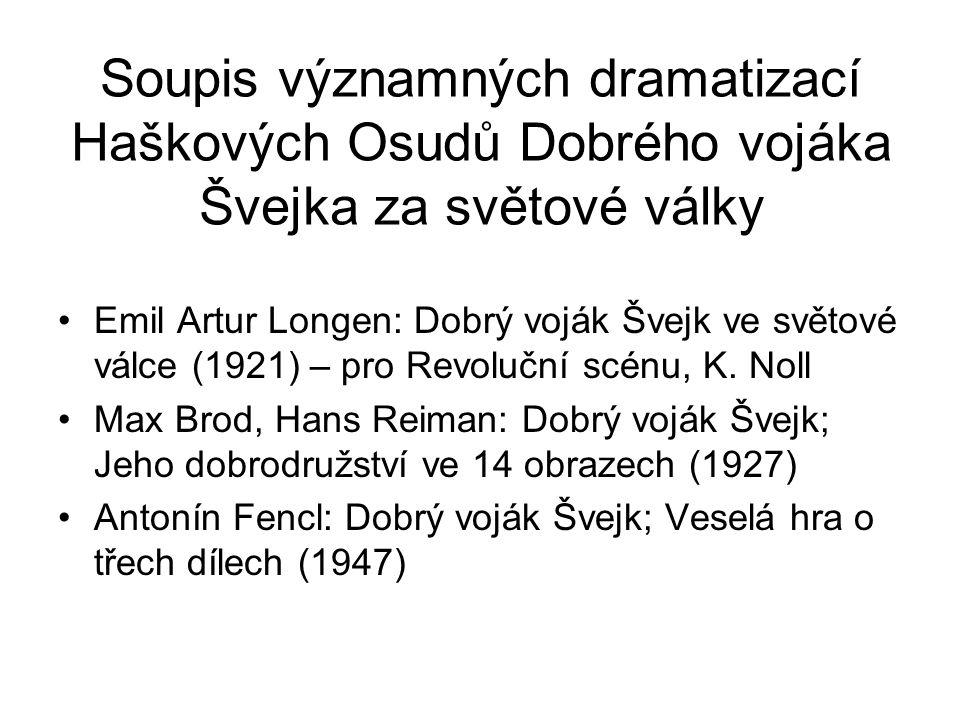 Soupis významných dramatizací Haškových Osudů Dobrého vojáka Švejka za světové války