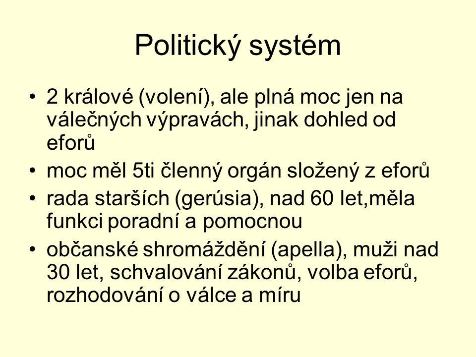 Politický systém 2 králové (volení), ale plná moc jen na válečných výpravách, jinak dohled od eforů.
