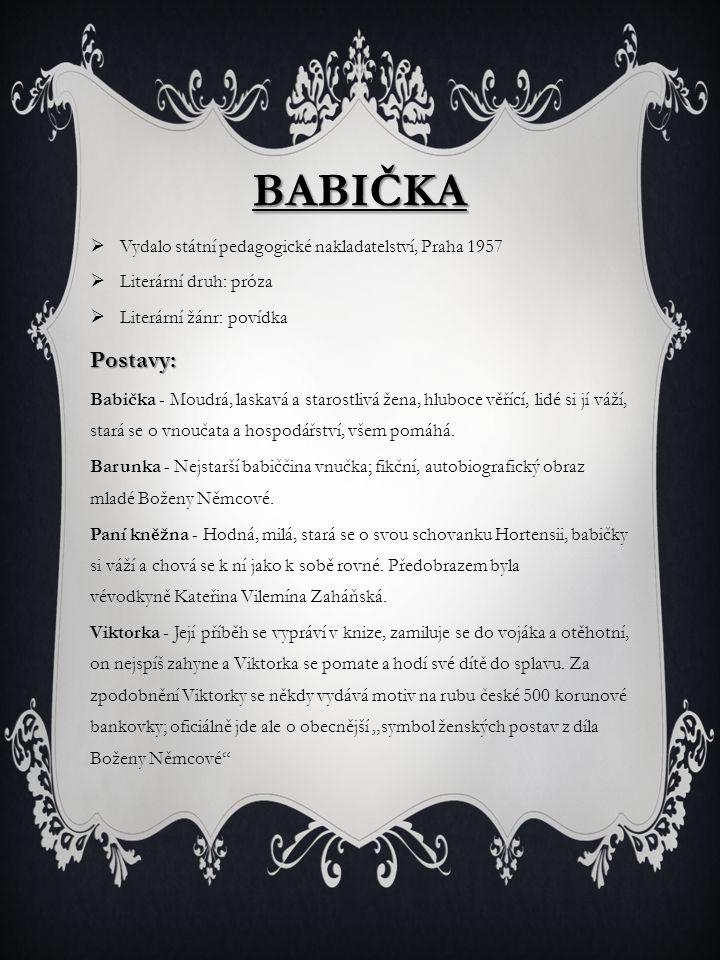 Babička Postavy: Vydalo státní pedagogické nakladatelství, Praha 1957