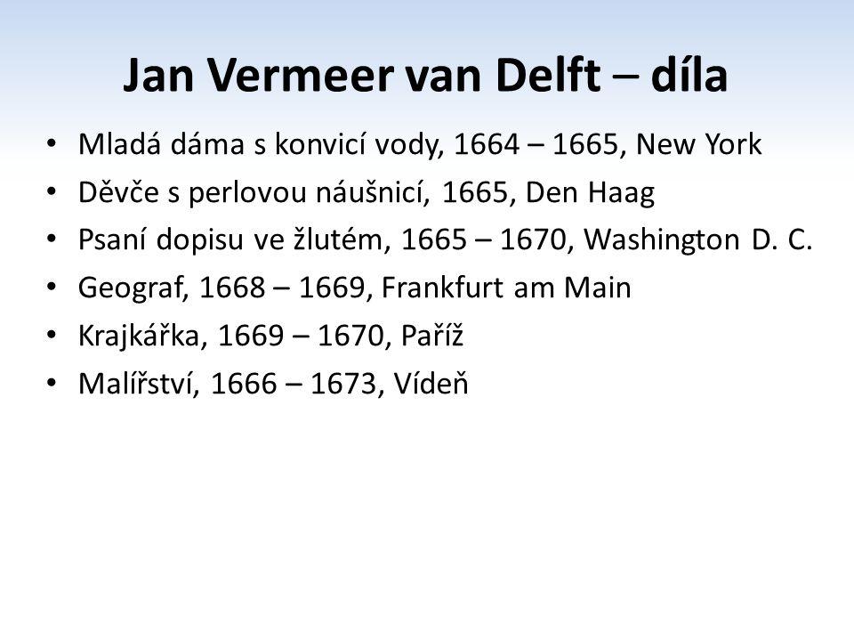 Jan Vermeer van Delft – díla