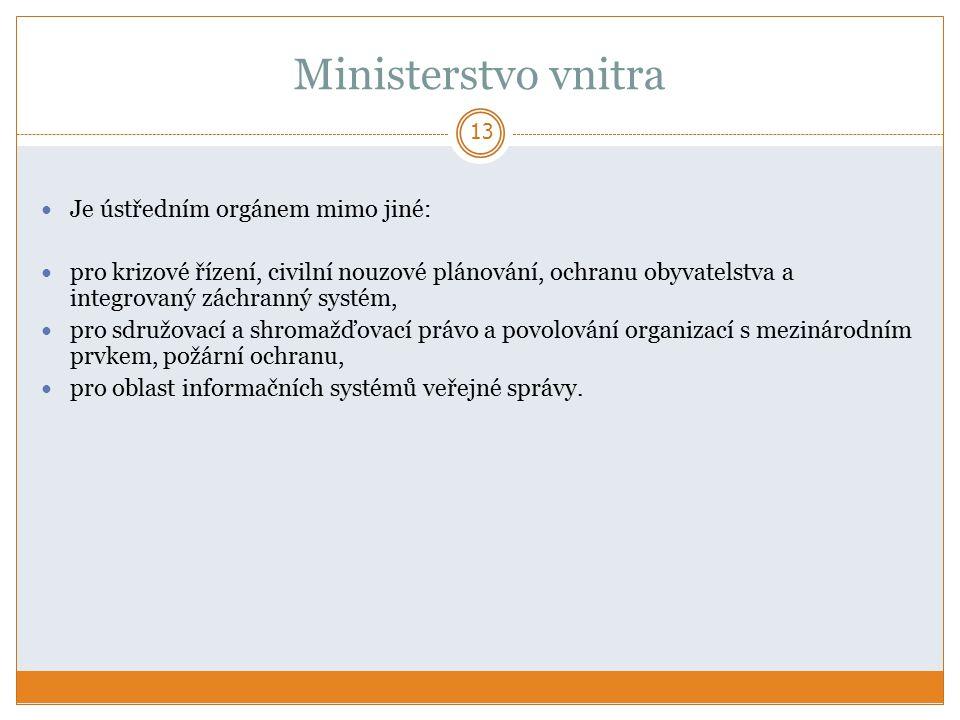 Ministerstvo vnitra Je ústředním orgánem mimo jiné: