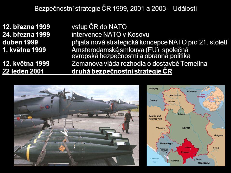 Bezpečnostní strategie ČR 1999, 2001 a 2003 – Události