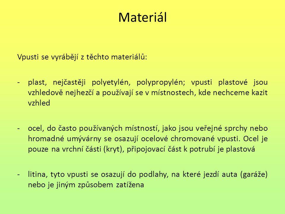 Materiál Vpusti se vyrábějí z těchto materiálů: