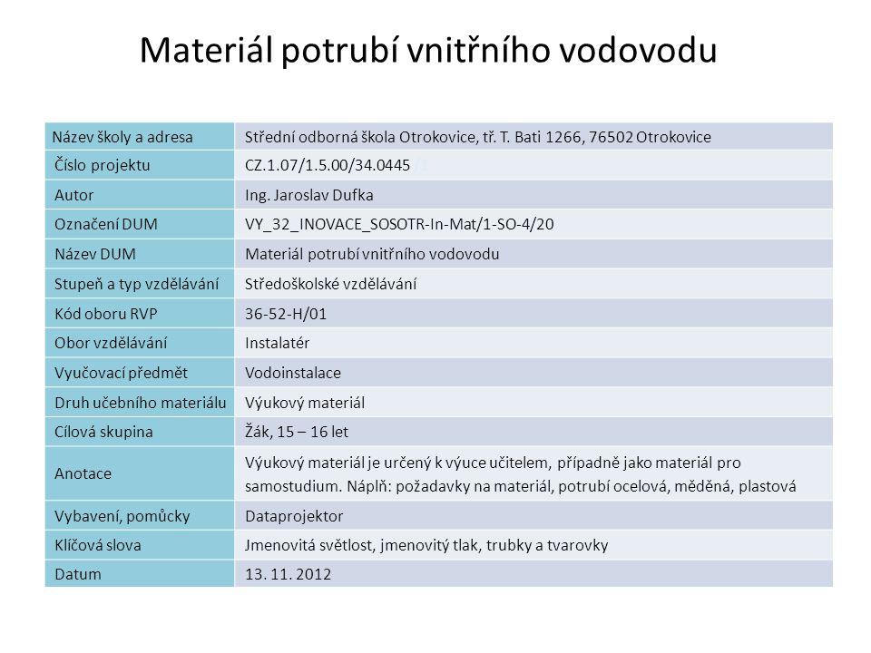 Materiál potrubí vnitřního vodovodu