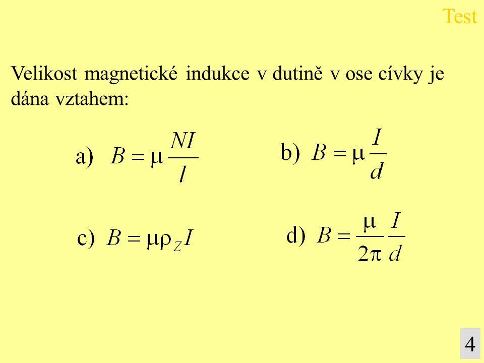 Test 4 Velikost magnetické indukce v dutině v ose cívky je