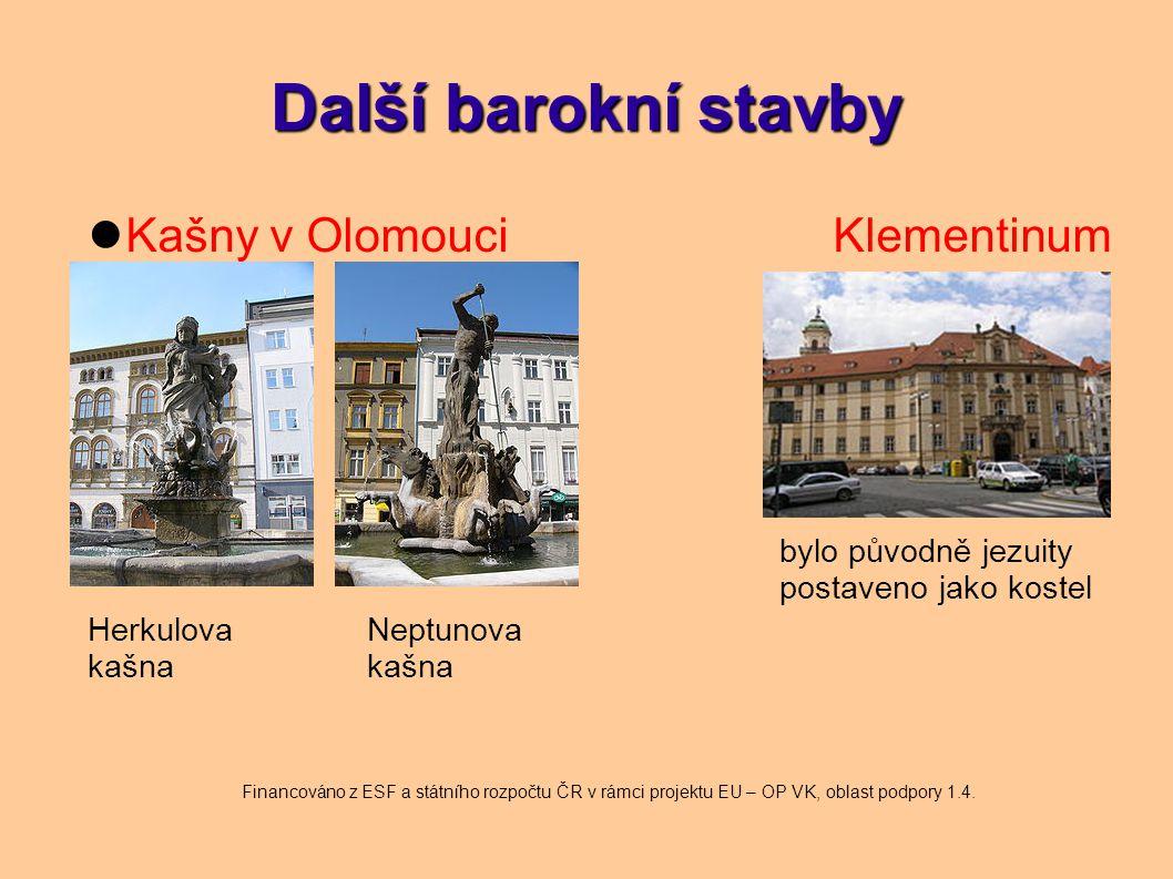 Další barokní stavby Kašny v Olomouci Klementinum