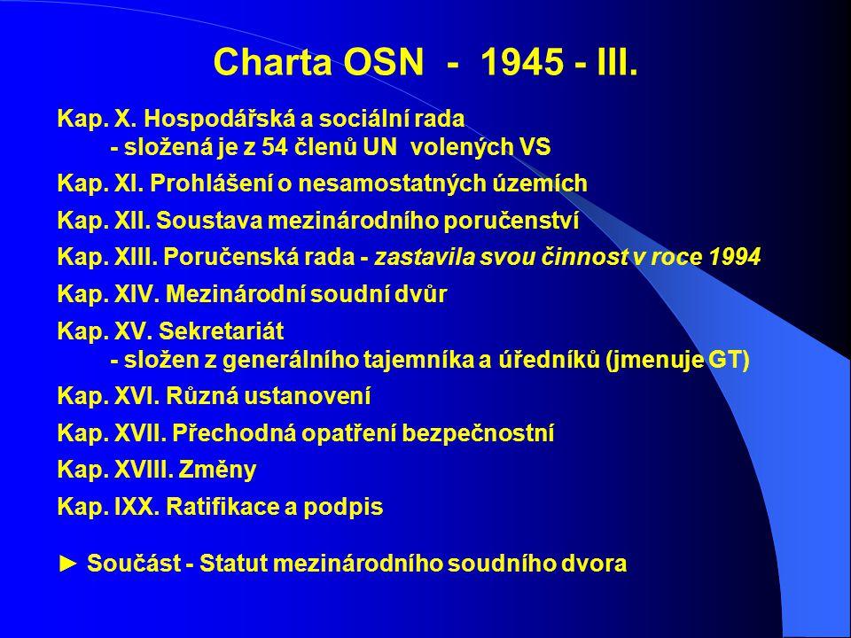 Charta OSN - 1945 - III. Kap. X. Hospodářská a sociální rada