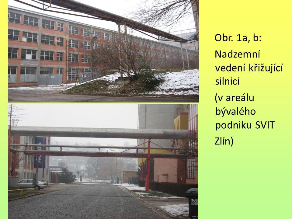 Obr. 1a, b: Nadzemní vedení křižující silnici (v areálu bývalého podniku SVIT Zlín)
