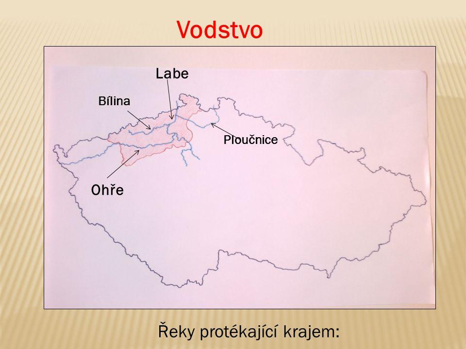 Vodstvo Labe Bílina Ploučnice Ohře Řeky protékající krajem: