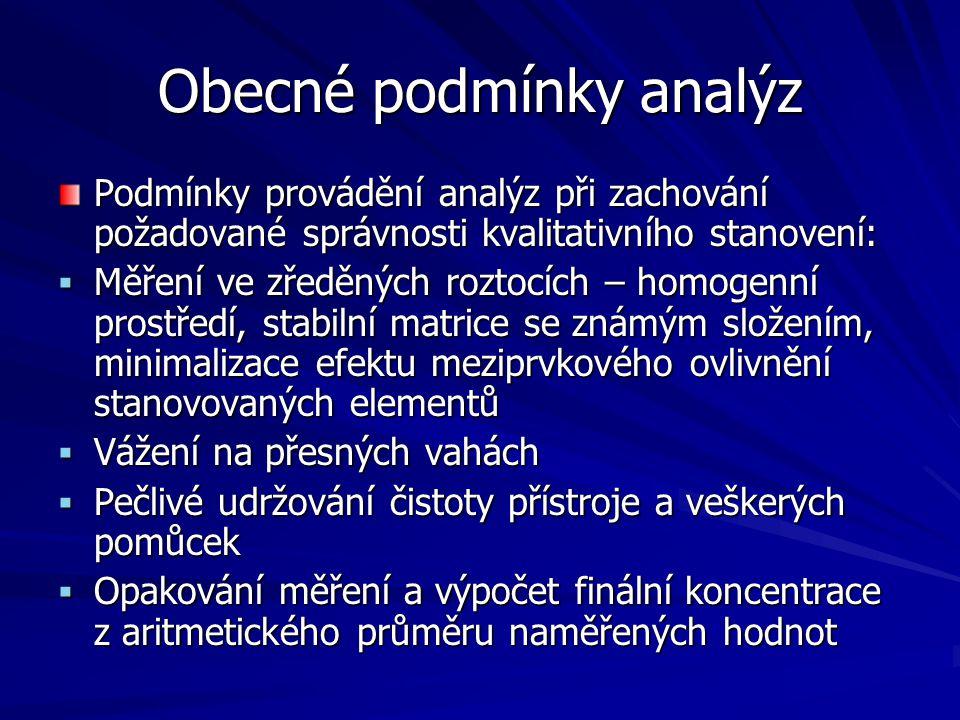 Obecné podmínky analýz