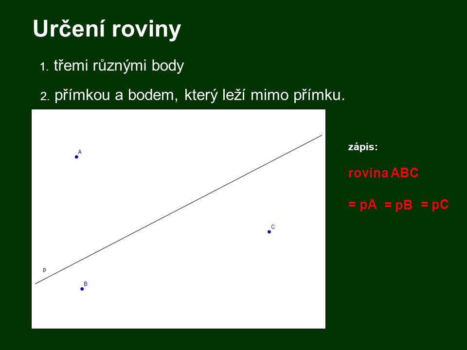 Určení roviny = pA = pB = pC 1. třemi různými body
