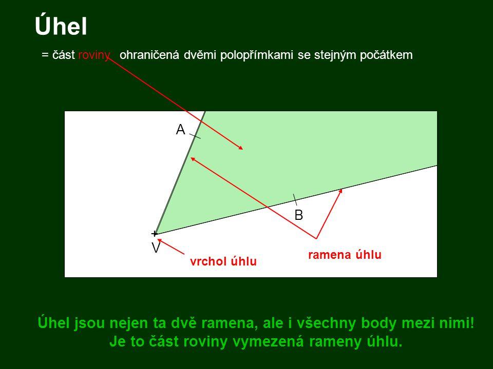 Úhel A B + V ohraničená dvěmi polopřímkami se stejným počátkem