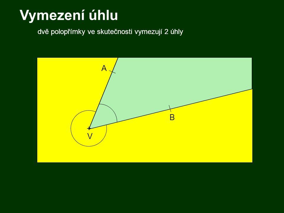 Vymezení úhlu dvě polopřímky ve skutečnosti vymezují 2 úhly A B + V