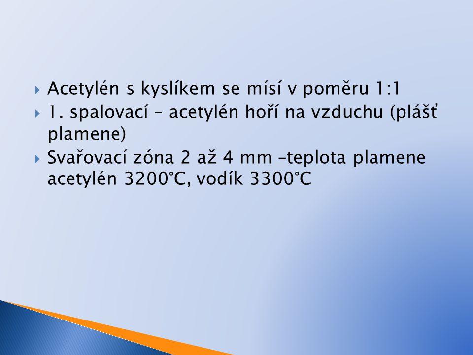Acetylén s kyslíkem se mísí v poměru 1:1