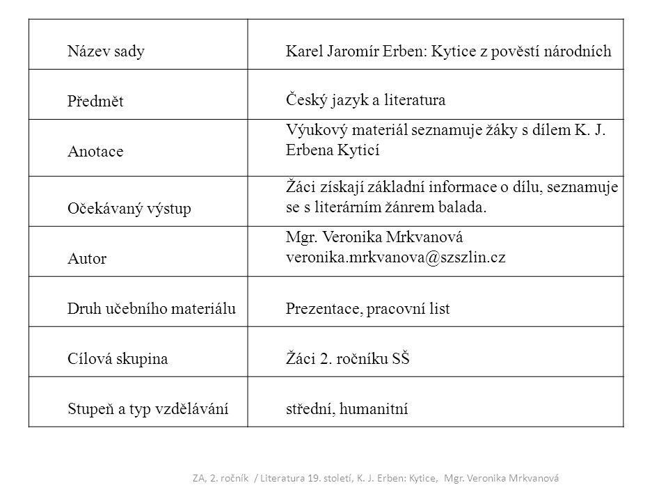 Karel Jaromír Erben: Kytice z pověstí národních