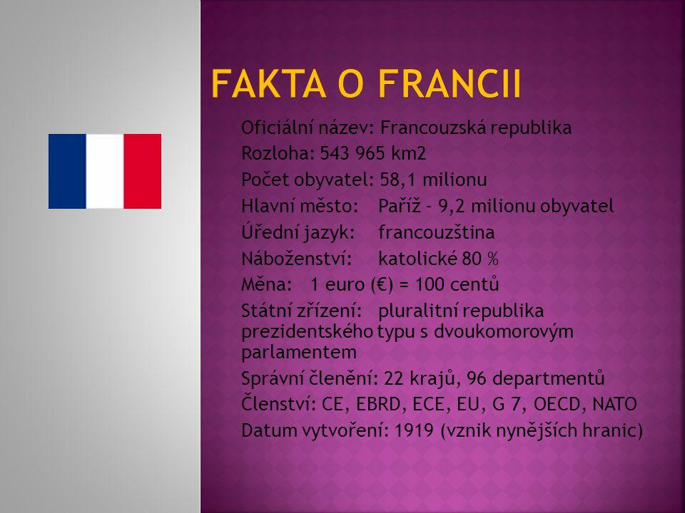 Fakta o francii Oficiální název: Francouzská republika