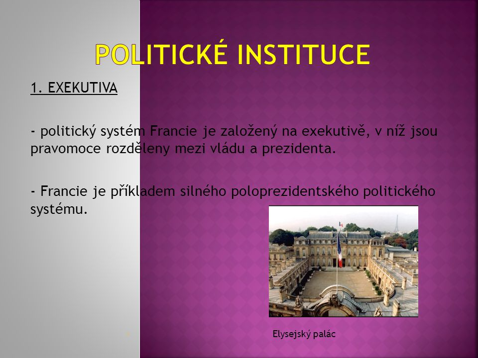 Politické instituce 1. EXEKUTIVA