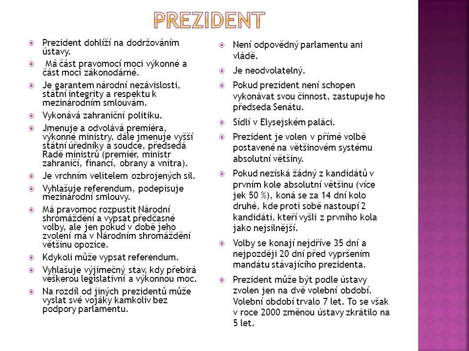 prezident Prezident dohlíží na dodržováním ústavy.