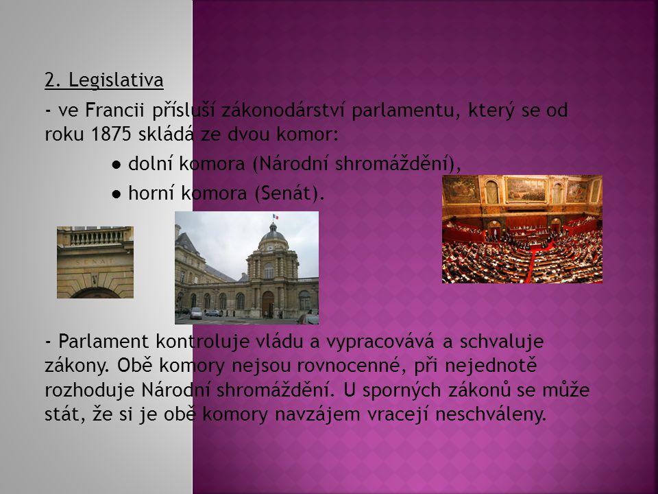 2. Legislativa - ve Francii přísluší zákonodárství parlamentu, který se od roku 1875 skládá ze dvou komor: