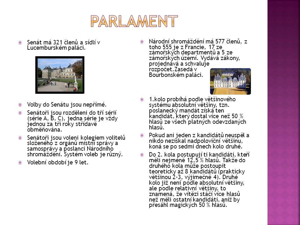 Parlament Senát má 321 členů a sídlí v Lucemburském paláci.
