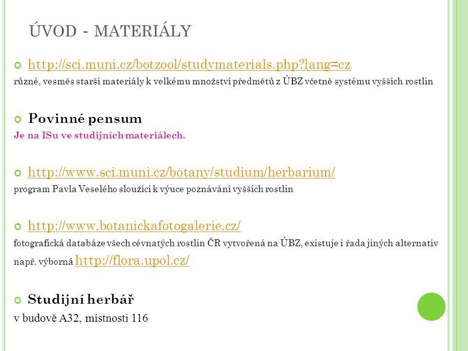 úvod - materiály http://sci.muni.cz/botzool/studymaterials.php lang=cz