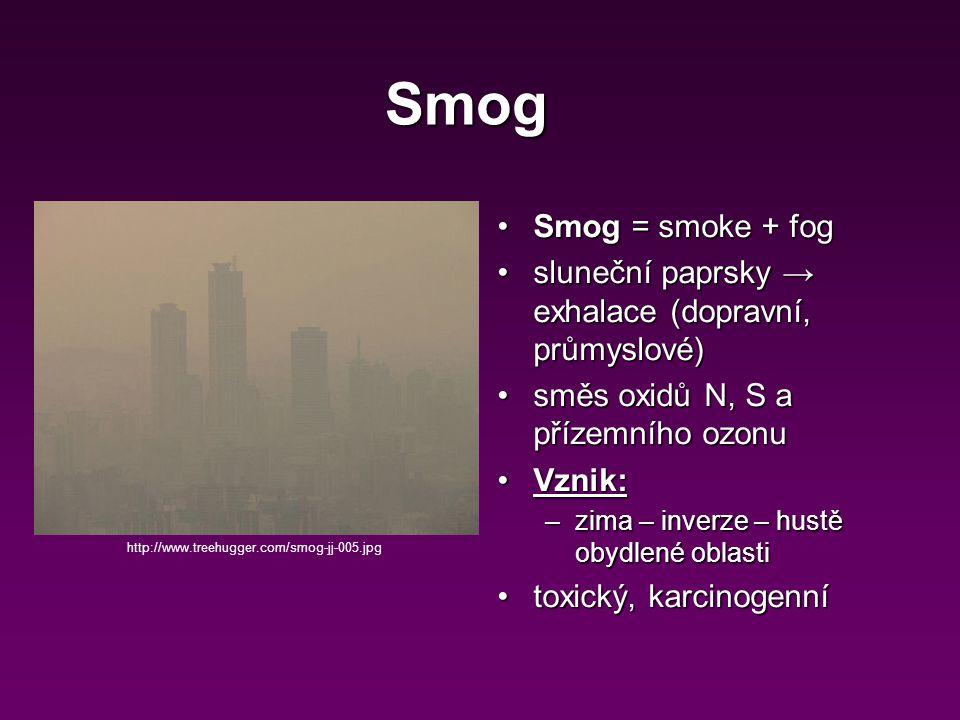 Smog Smog = smoke + fog. sluneční paprsky → exhalace (dopravní, průmyslové) směs oxidů N, S a přízemního ozonu.