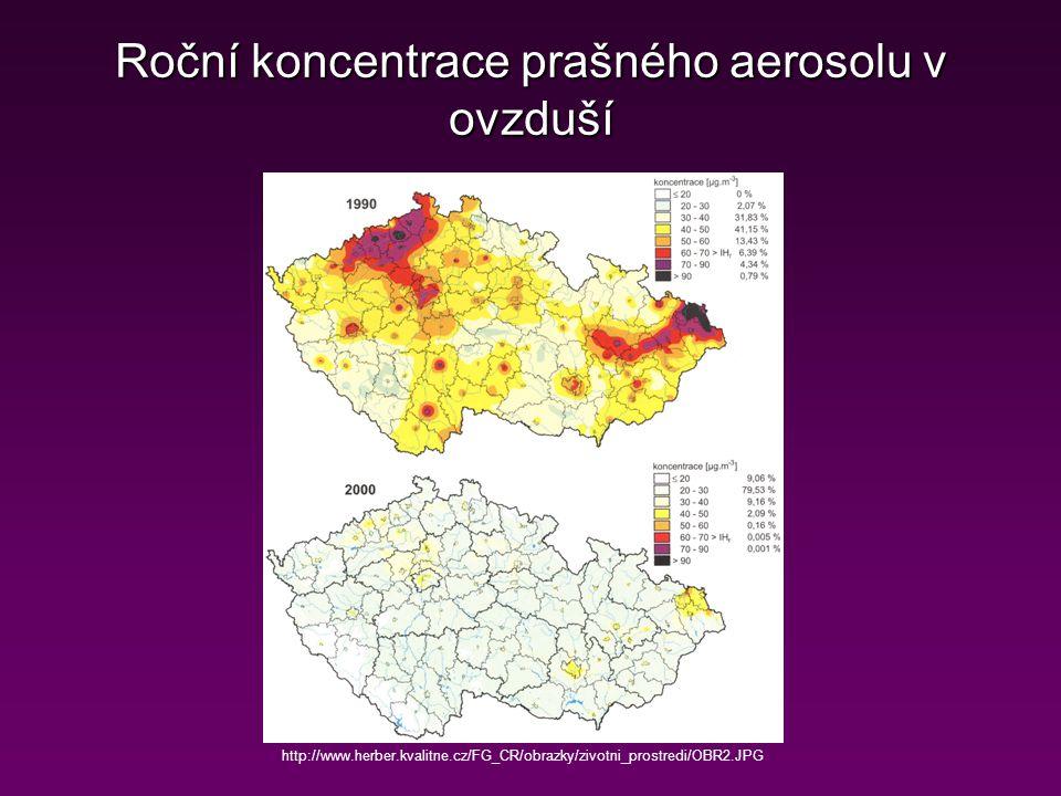 Roční koncentrace prašného aerosolu v ovzduší