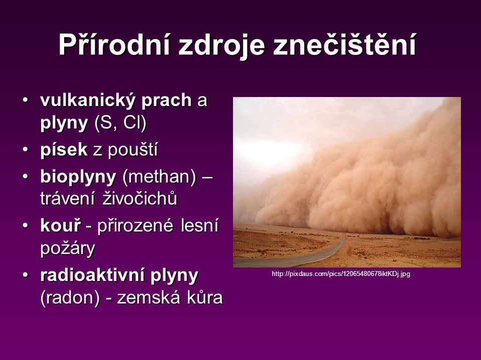 Přírodní zdroje znečištění