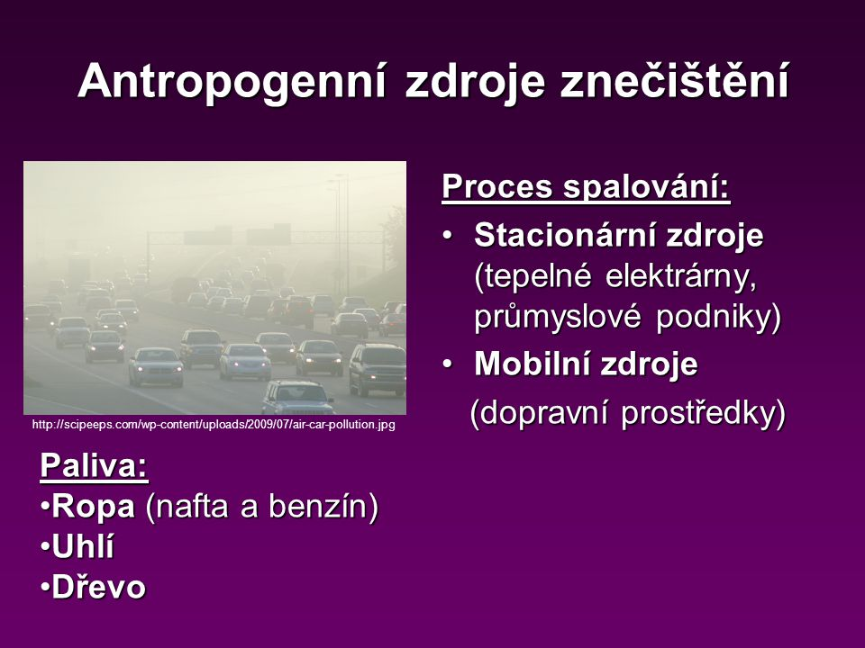 Antropogenní zdroje znečištění