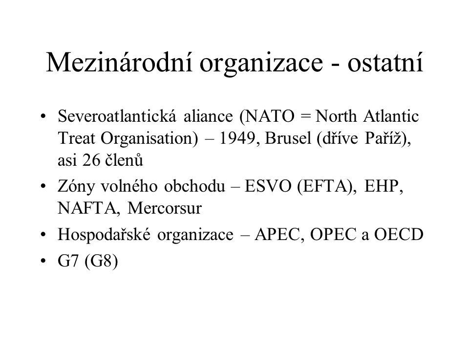 Mezinárodní organizace - ostatní