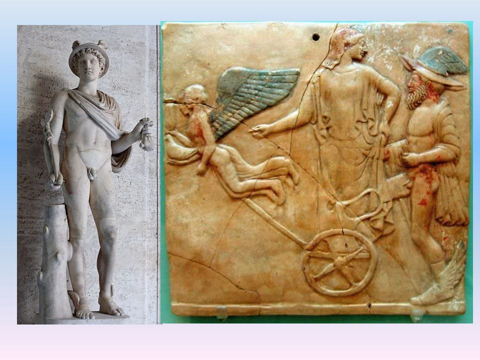 Hermés. (vpravo:) Eros, Hermés a možná Afrodité.