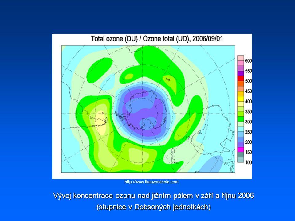 Vývoj koncentrace ozonu nad jižním pólem v září a říjnu 2006