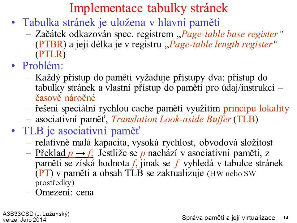 Implementace tabulky stránek