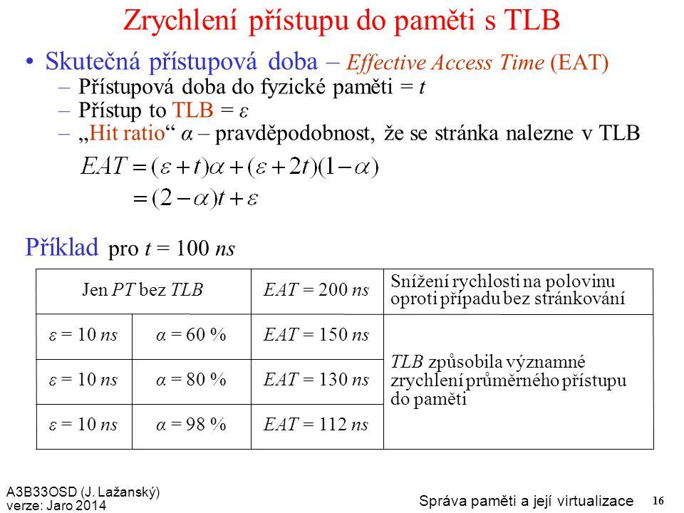 Zrychlení přístupu do paměti s TLB