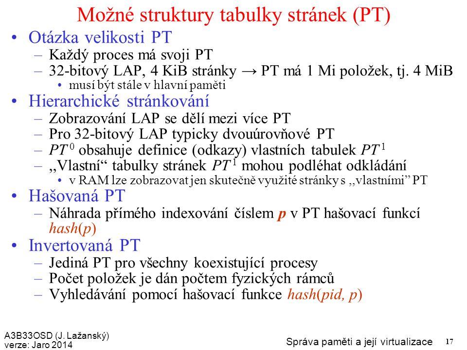 Možné struktury tabulky stránek (PT)