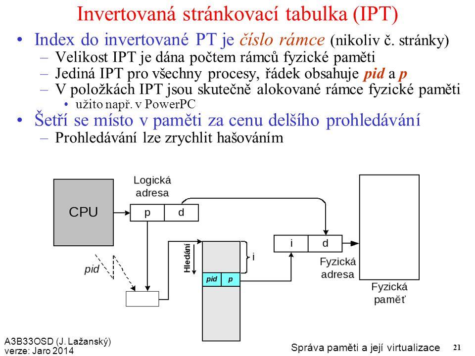 Invertovaná stránkovací tabulka (IPT)