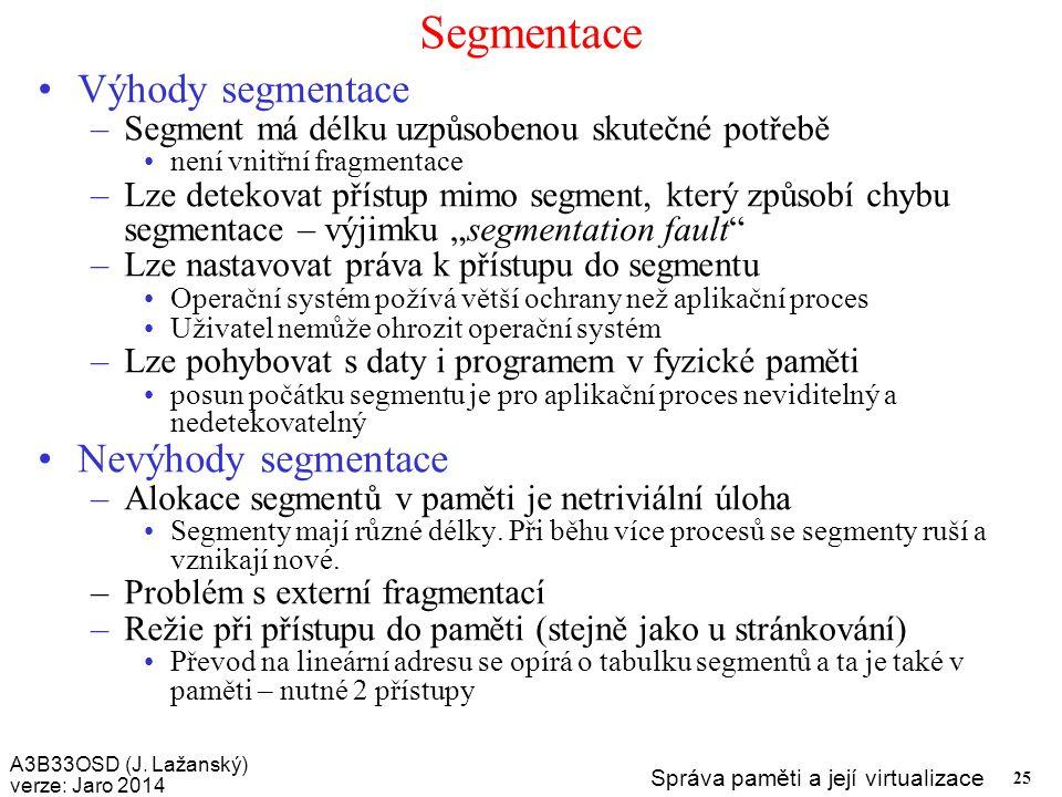 Segmentace Výhody segmentace Nevýhody segmentace