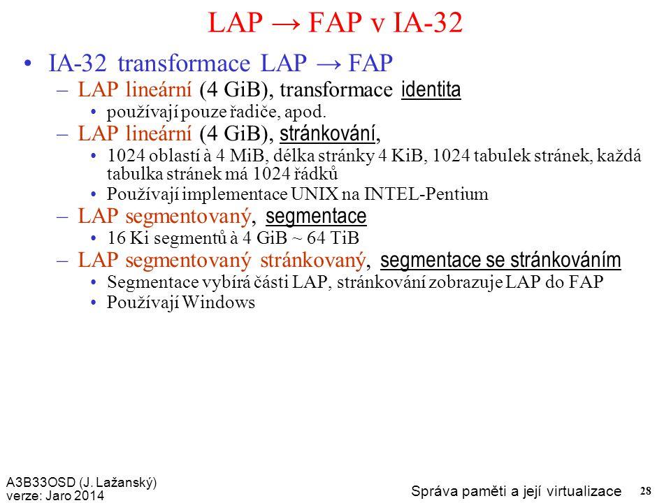 LAP → FAP v IA-32 IA-32 transformace LAP → FAP