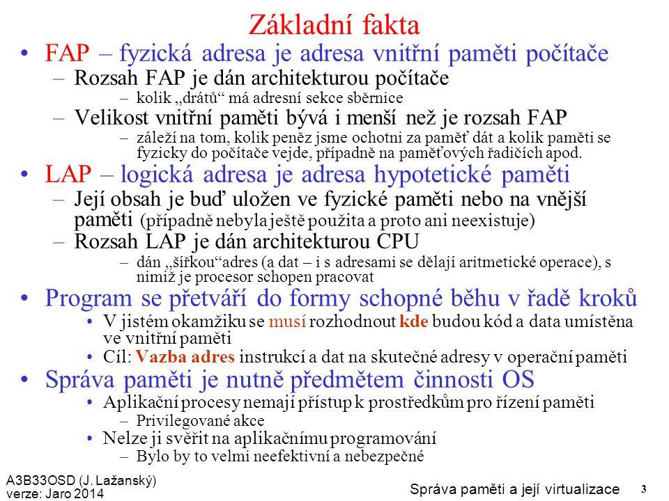Základní fakta FAP – fyzická adresa je adresa vnitřní paměti počítače