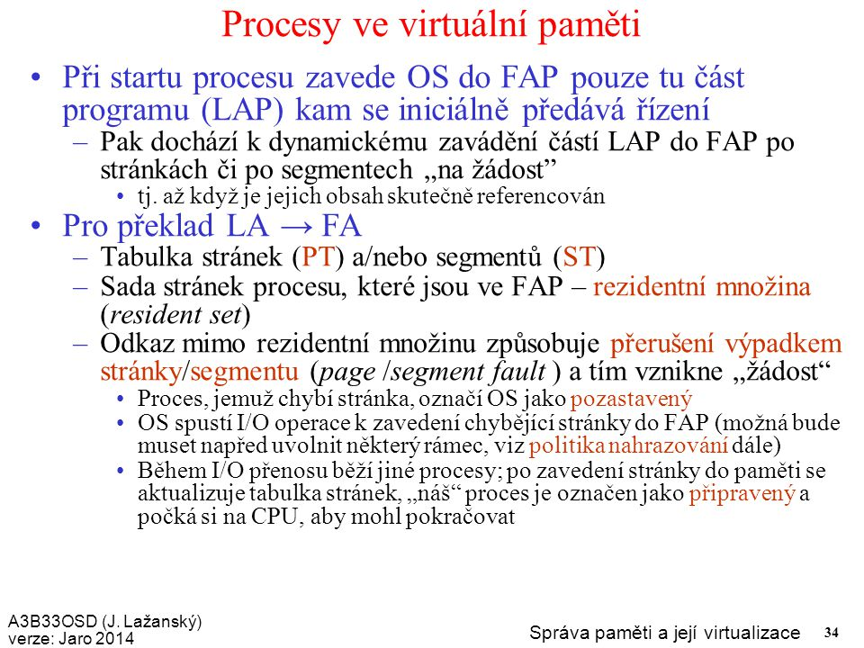 Procesy ve virtuální paměti